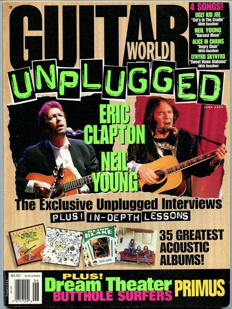 Eric Clapton Neil Young Unplugged June 1993 Guitar World Magazine Petrucci Neil Young Eric Clapton Guitar