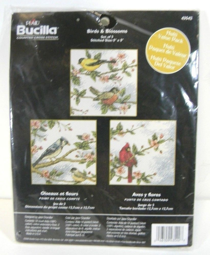 Enjoy counted cross stitch? Want to make something for the bird lover? Bucilla Birds & Blossoms Counted Cross Stitch Kit #Bucilla #Cardinal #BlueJay #Finch #Robin