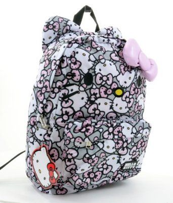 d0f60d5b80 Amazon.com  Hello Kitty Pink Grey and White All Over Print Backpack by  Loungefly  Clothing