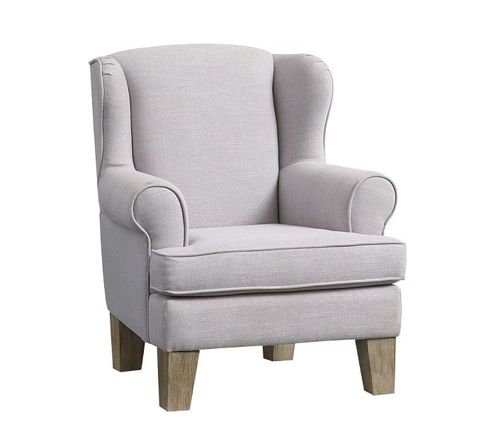 Bon Wingback Mini Chair, Washed Linen Cotton French Gray