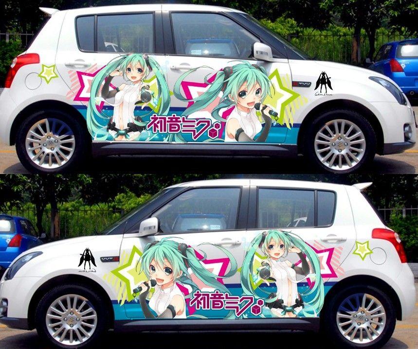 2pcs customizable anime whole cute car stickers graffiti vinyl wrap sexy silhouette car decal sticker hatsune