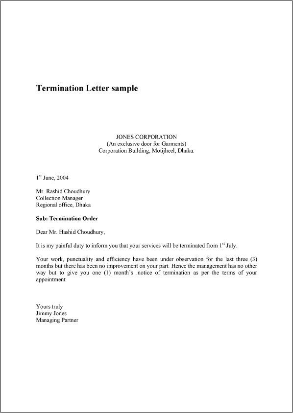 Sample Termination Letters For Workplace Termination Letter