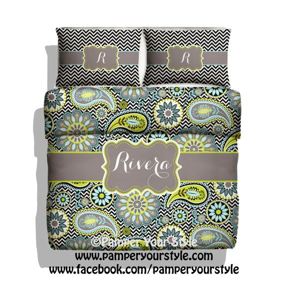 Paisley And Chevron Monogrammed Bedding   Personalized Bedding   Custom  Duvet Or Comforter   Aqua Lime And Black Paisley   Bedroom Ideas