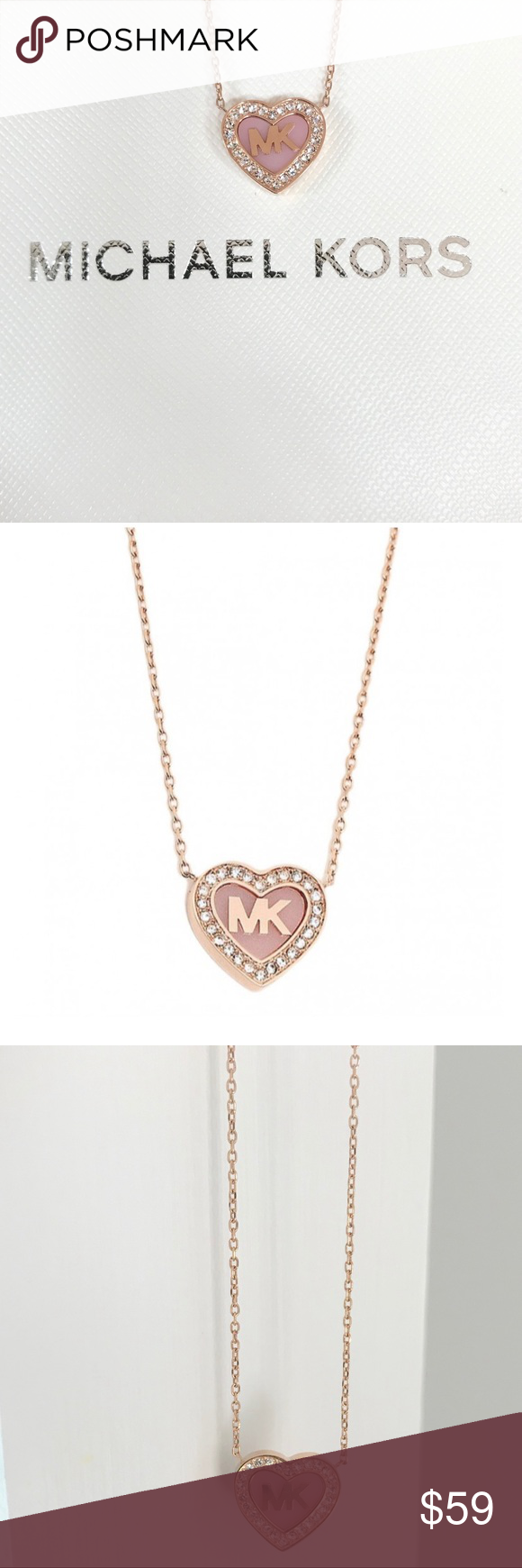 a442e989de6a4 New authentic MK rose gold tone pave heart pendant Anchored with a heart-shaped  pendant encircled with crystals