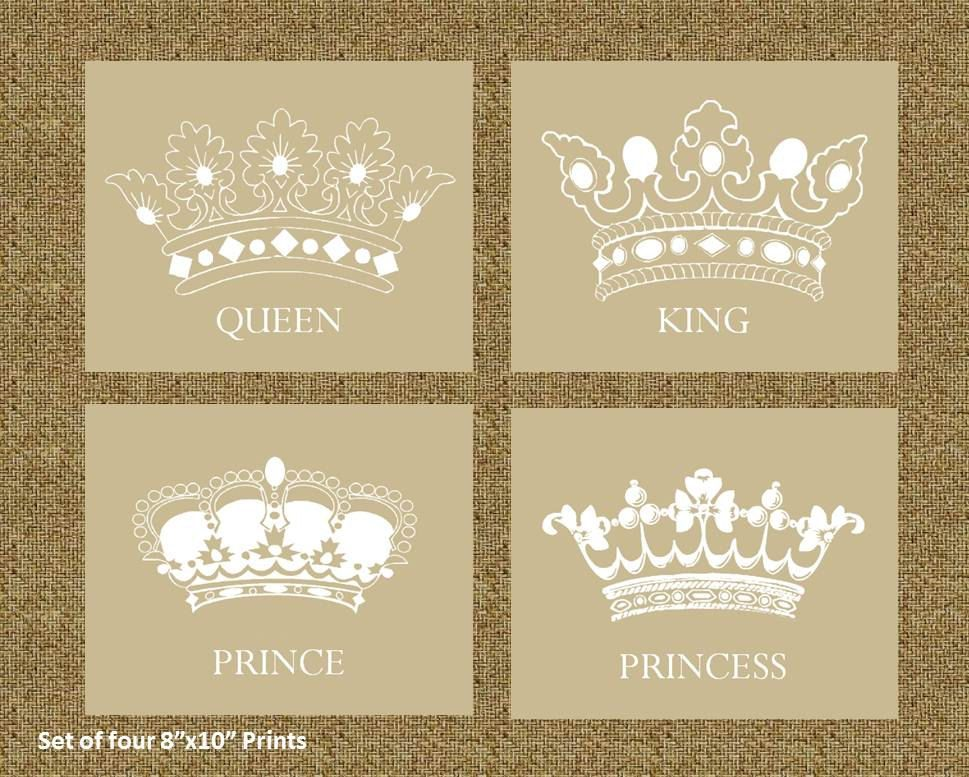 Home Decor Prints of a King, Queen, Prince, and Princess Crowns ...