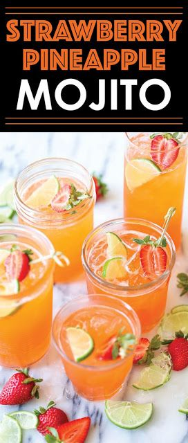 STRAWBERRY PINEAPPLE MOJITO #cocktaildrinks
