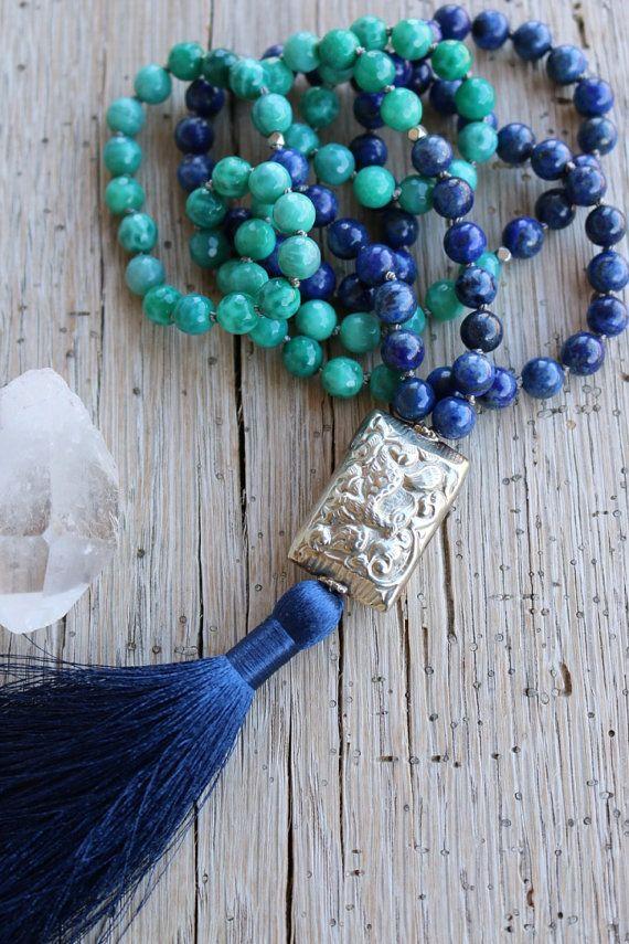 Malachite Agate mala beads Lapis Lazuli Silver Tibetan bead