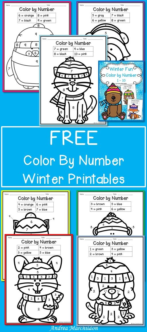 FREE Color by Number Winter Printables Great practice for Pre-K to K ...