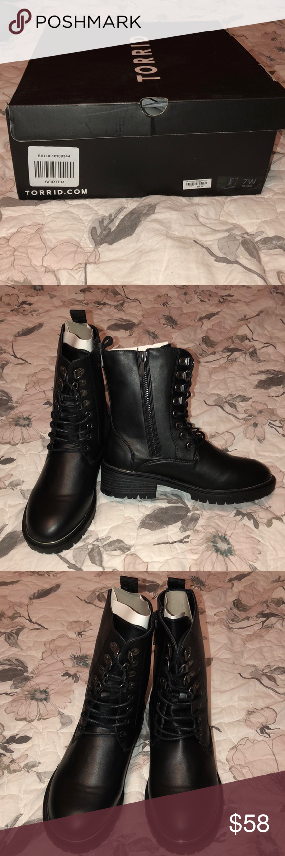 NWB Torrid Combat Boots With Silver Trim New with box Torrid black combat boots. Size 7(labeled 7W but runs small, closer to standard size 7 fit). Has side zipper, lace up front, and silver detail on toe and heel of shoe. Super cool, I love these so much I ended up buying them for myself twice! My fave boots to wear for fall/winter. Never worn, only out of box for pics.