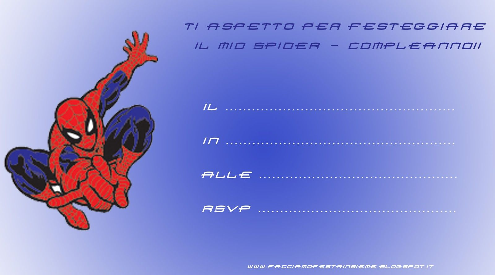 Invito di compleanno spider man da stampare idee for Stampe da colorare spiderman
