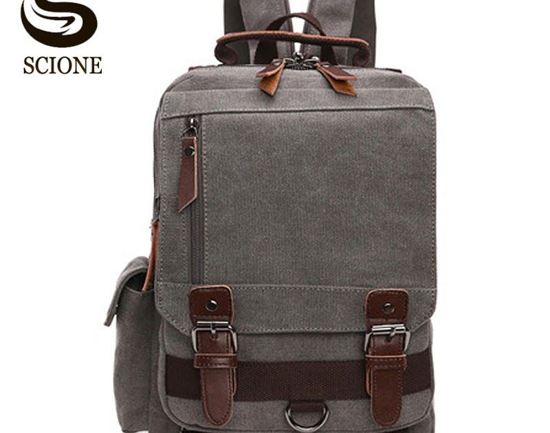 ae38755dab SALE Scione Small Canvas Backpack Men Travel Back Pack Multifunctional Shoulder  Bag Women Laptop Rucksack School