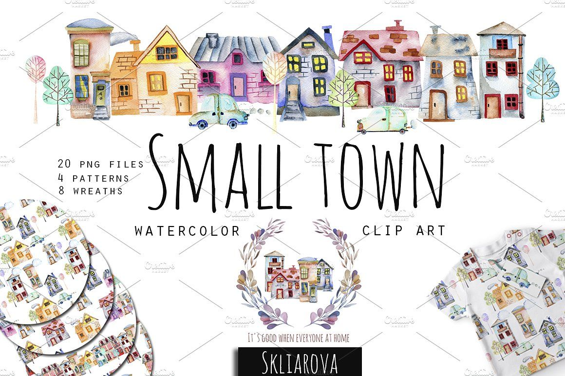 Small Town Watercolor Clip Art Set Watercolor Clipart Clip Art