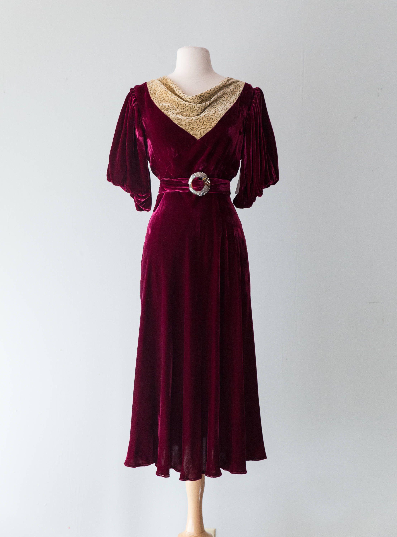 Vintage 1930s Dress 30s Silk Velvet Cocktail Dress With Etsy Vintage 1930s Dress Dresses Velvet Cocktail Dress [ 3000 x 2216 Pixel ]