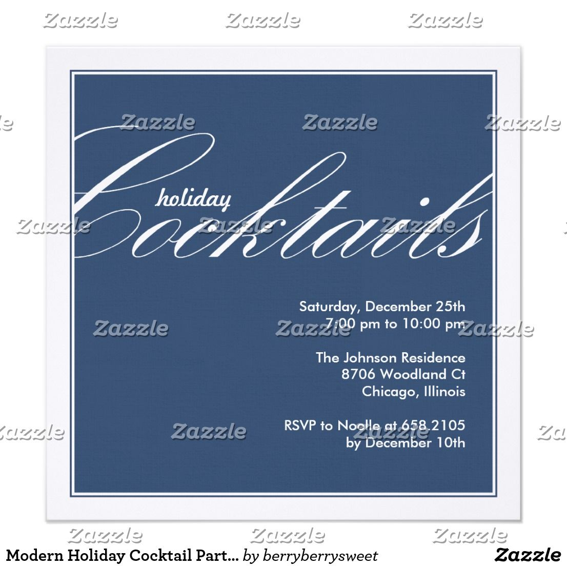 modern holiday cocktail party invitation blue gather your friends for an evening of celebration with - Christmas Cocktail Party Invitations