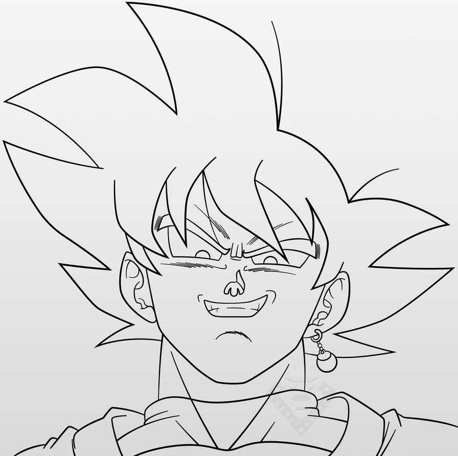 Goku Black 2 Line Art By Aubreiprince On Deviantart Goku Drawing Dragon Ball Artwork Goku Art