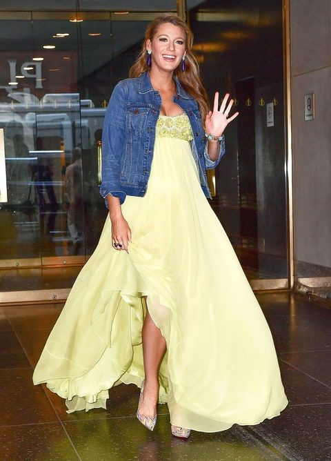 Pregnant Blake Lively Dresses Down Yellow Ball Gown With Jean Jacket ...
