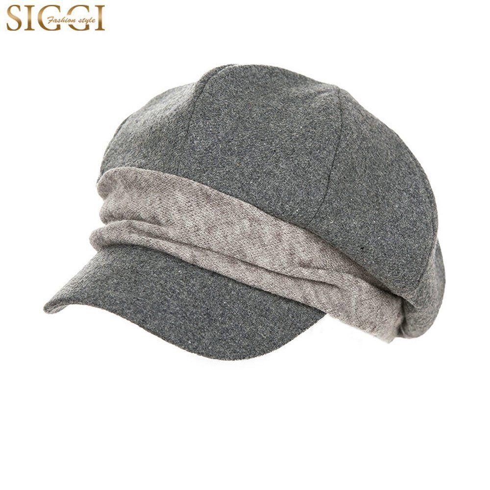 Siggi Wool Newsboy Cabbie Beret Cap for Women Beret Visor Bill Hat Winter  Black at Amazon Women s Clothing store  33aab0cc1b31