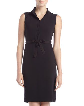 Tie-Waist Dress, Black by Tahari at Last Call by Neiman Marcus ...
