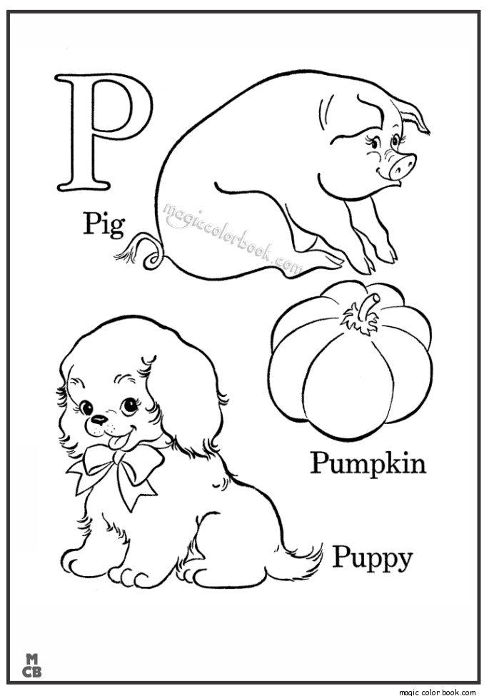 Alphabet P with picture coloring pages PIG PUMPKIN PUPPY ...