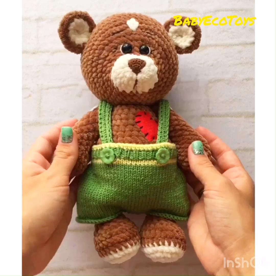Easy Crochet and Knitting PATTERN PDF fashion plush Teddy Bear - Amigurumi crochet bear toy #crochetbear