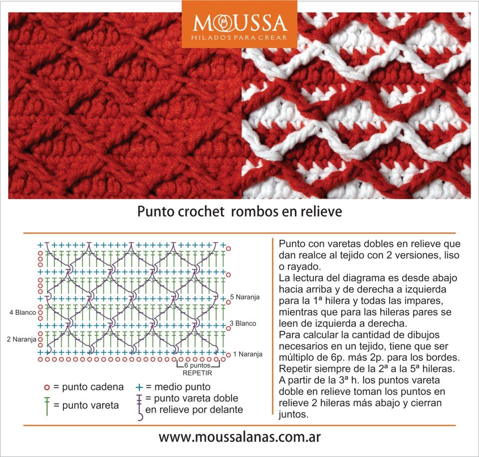 Punto crochet rombos en relieve | crochet | Pinterest | Crochet ...