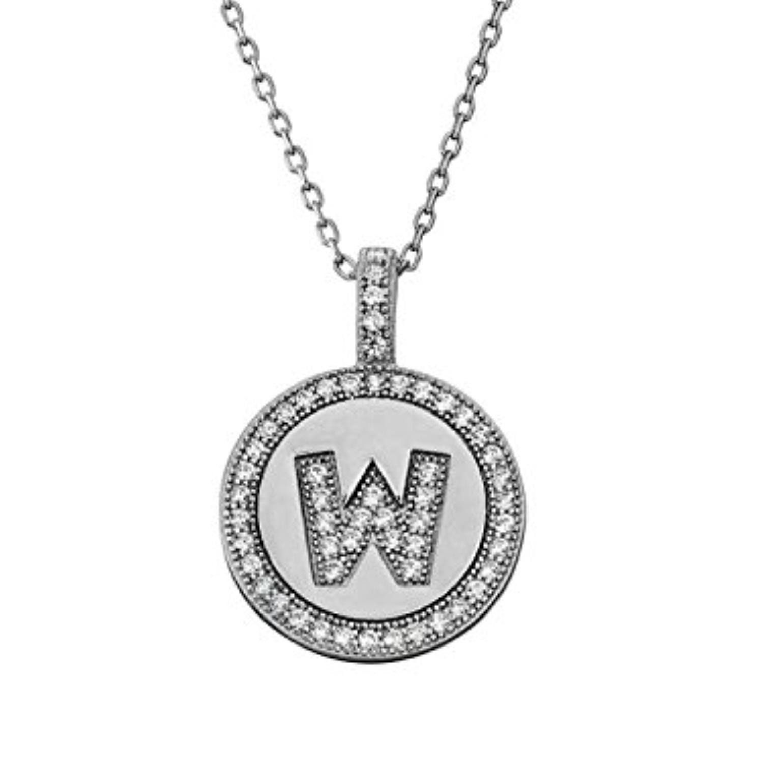 Letter w micro pave initial cz pendant sterling silver
