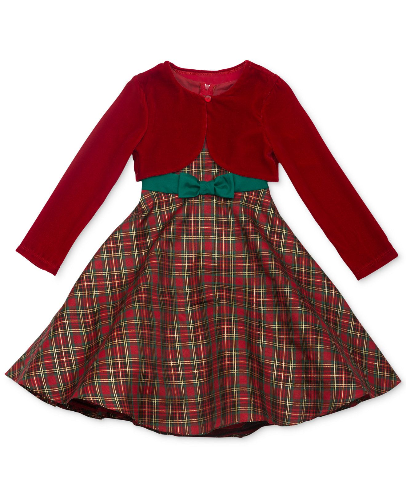 Rare Editions Girls Tartan Plaid Dress and Bolero Jacket Kids