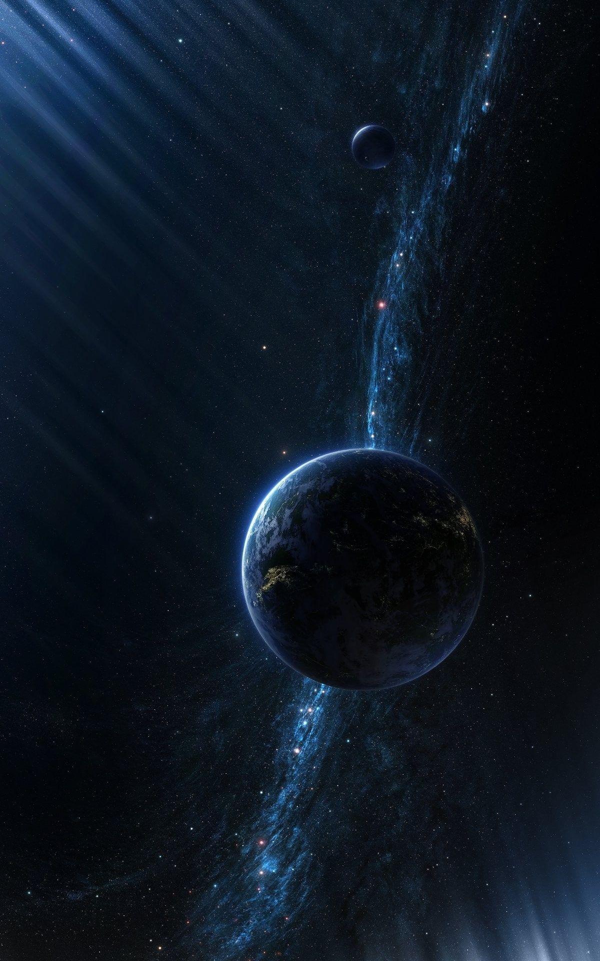Digital Art Portrait Display Cgi Space Universe Planet Stars Sun Rays Galaxy Milky Way 1080p Wallpaper Hdwallpa Planets Wallpaper Nebula Wallpaper Galaxy Hd