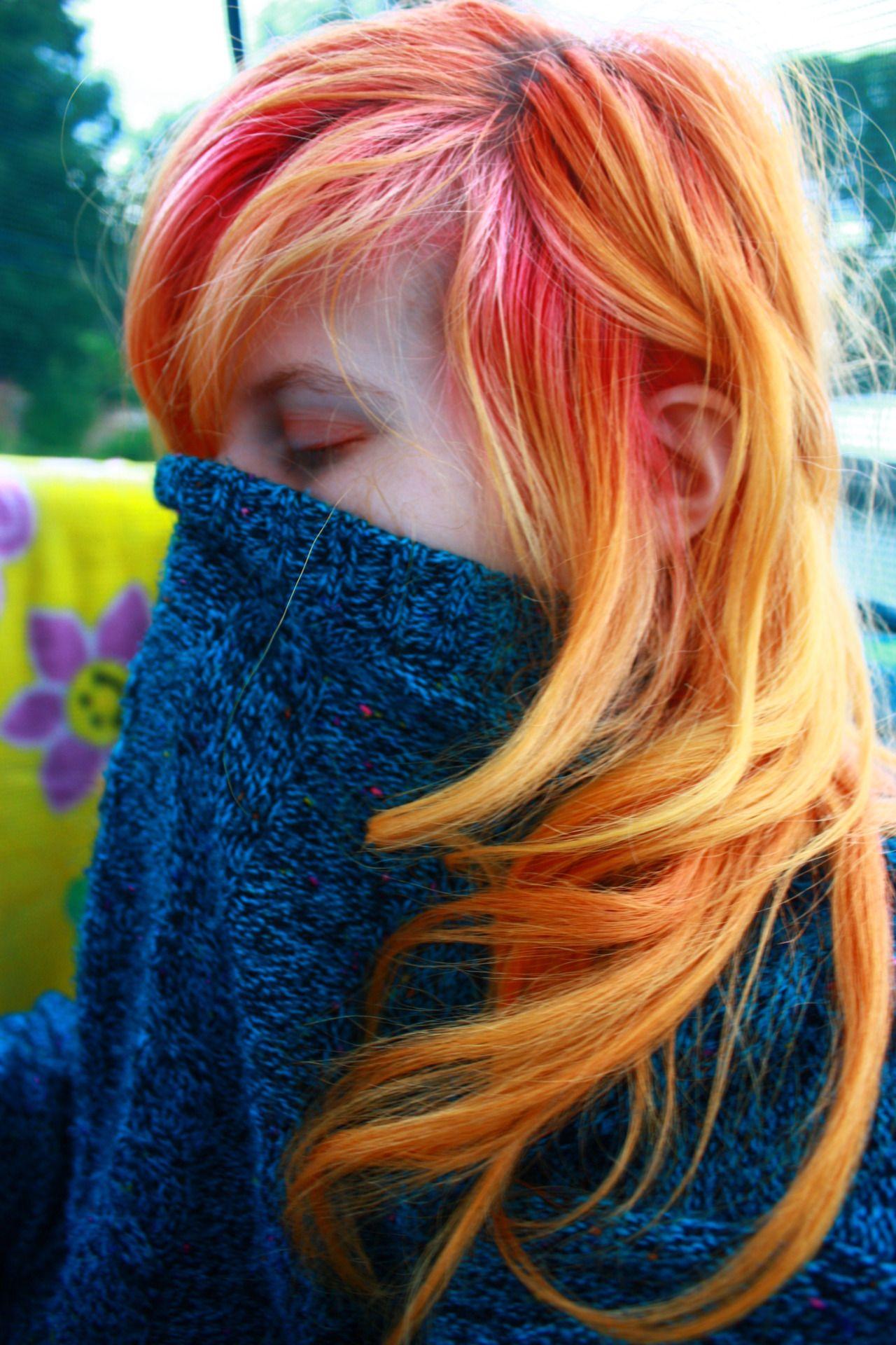 Orange and pink hair hair styles pinterest rainbow hair