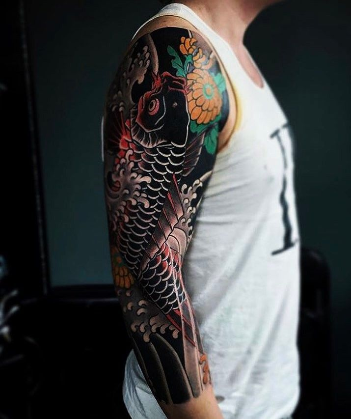 Mike S Koi Sleeve Chest Panel Unfinished Big Jpg 2400 3200: Japanese Tattoo Sleeve By @chrisbluearms. #japaneseink