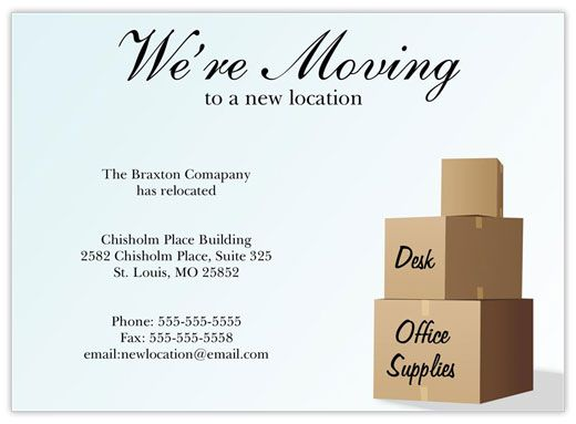 New Location Moving Card Postcard Template Free Business Postcards Card Templates Free
