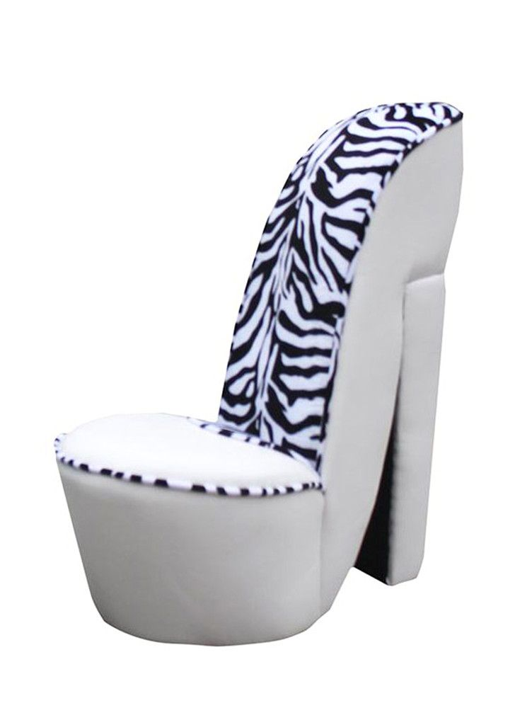 Buy Small White Leather High Heel Shoe Chair With Zebra