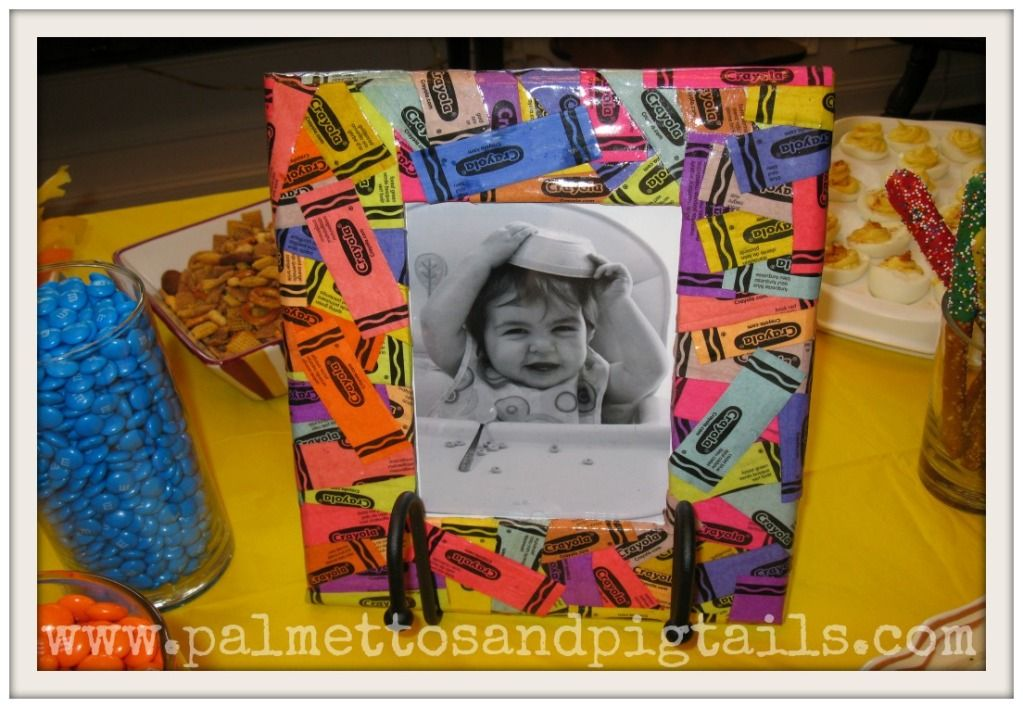 Crayola Birthday Party Handmade Frame Made From Crayon Wrappers And