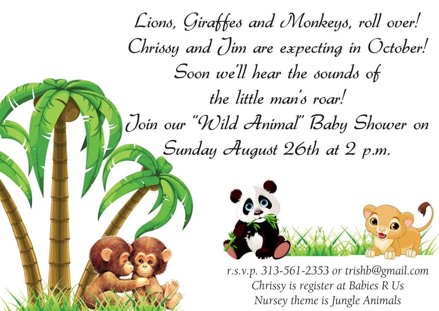 baby shower invitations safari theme wording | Baby Shower ...