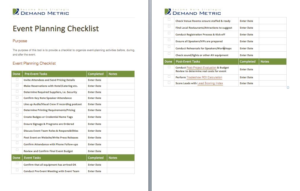 Event Planning Checklist  A Checklist To Help Organize Event
