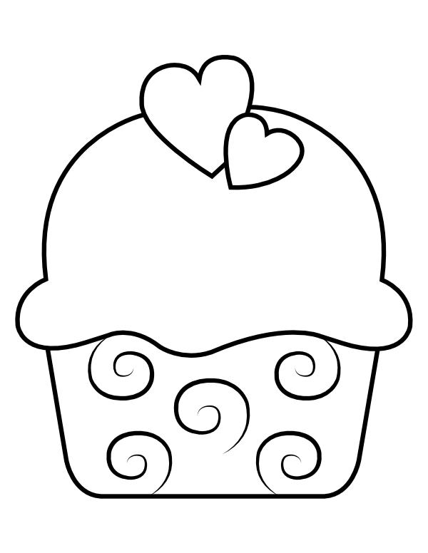 Printable Heart Cupcake Coloring Page Cupcake Coloring Pages Coloring Pages Heart Printable
