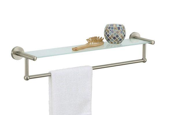 Organize It All Satin Nickel Gl Shelf With Towel Bar