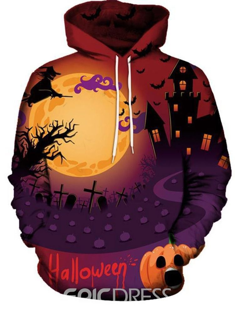 Men Winter Halloween Print Long Sleeve Hoodie Sweatshirt Pullover Tops Blouses