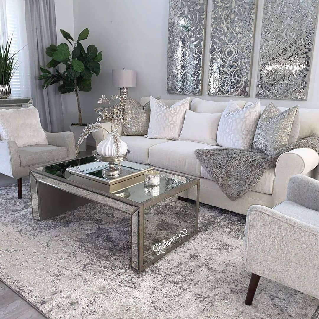 This Living Room Decor Is On Point I Love The Wall Decor Art Double Tap If You Are Agree Swipe Left Glam Living Room Silver Living Room Home Decor