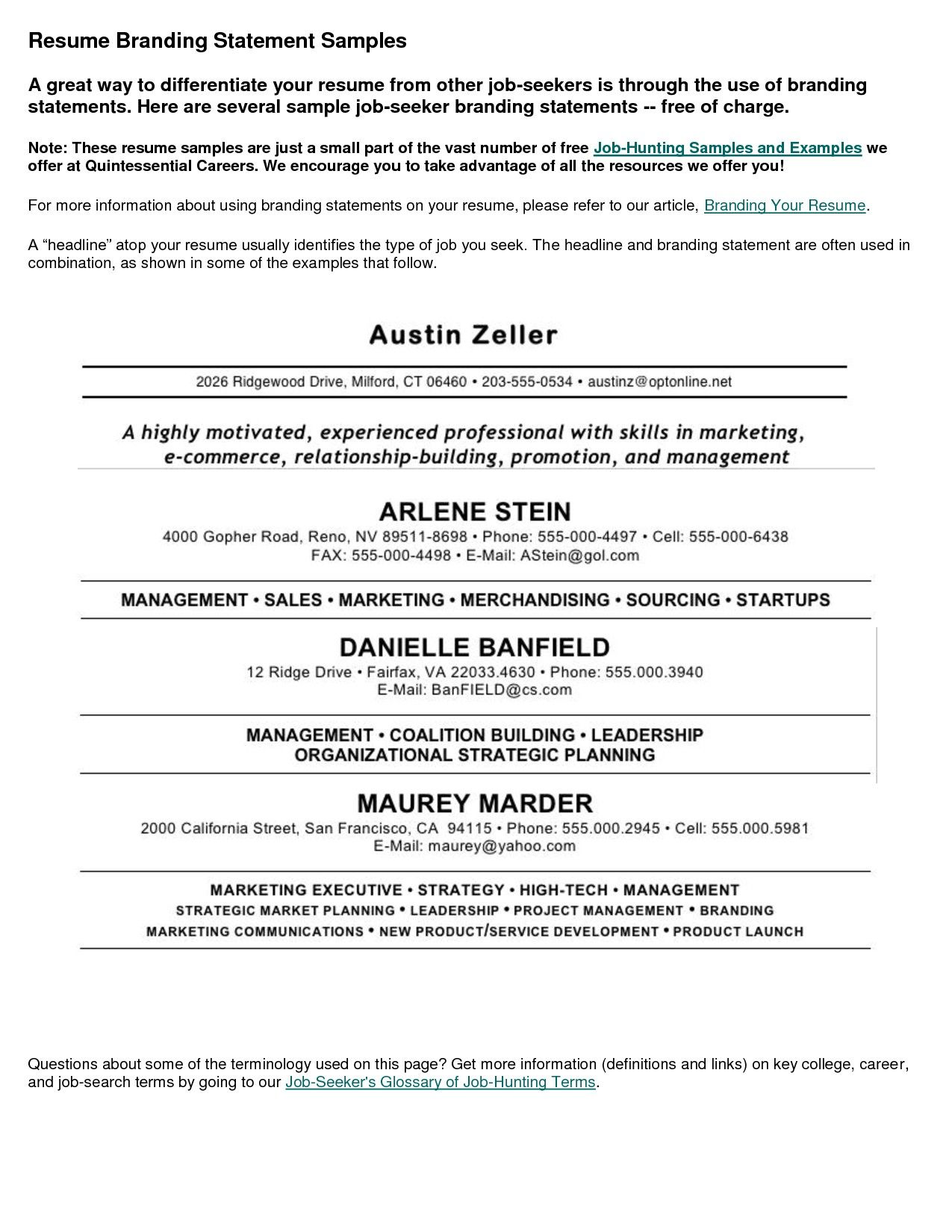 Job Resume Sample   Http://www.resumecareer.info/job   Examples Of A Job Resume