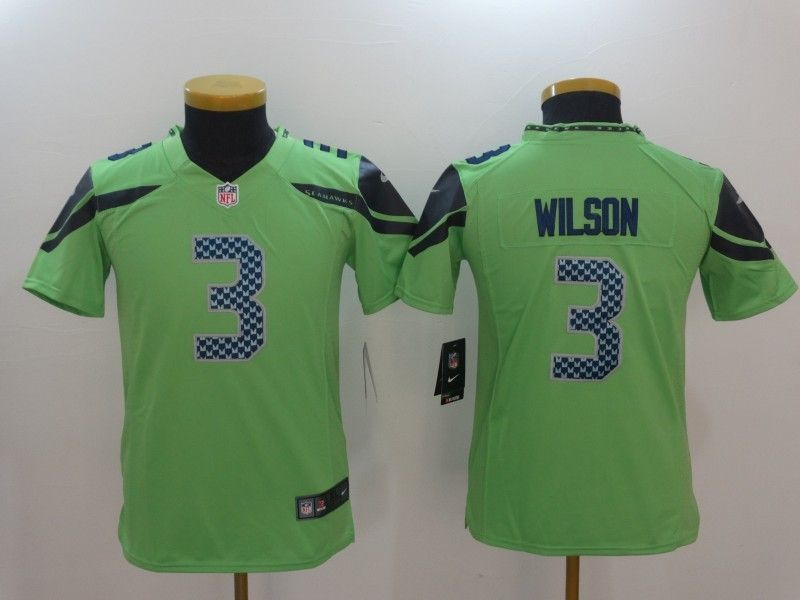 4cd5c46dc Youth Seattle Seahawks 3 Russell Wilson Green Color Rush Limited Jersey