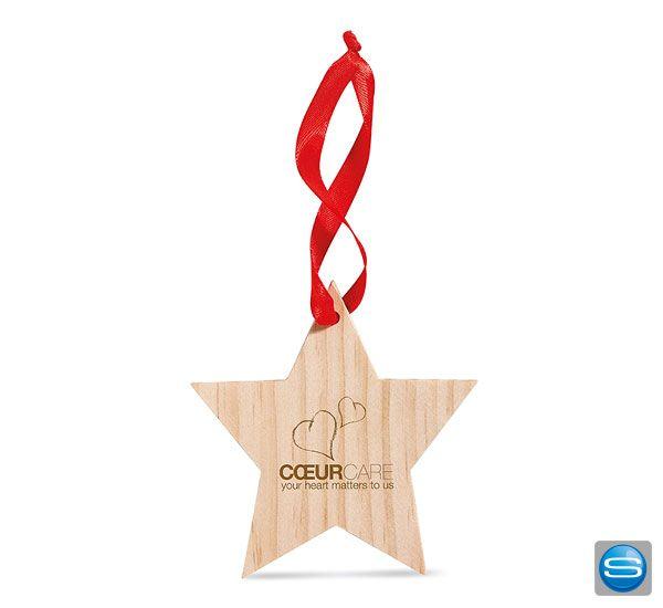 Schmücken Sie Ihren Christbaum Oder Ihr Haus Mit Diesem Schönen Festlichen  Holzanhänger In Sternform Mit Rotem