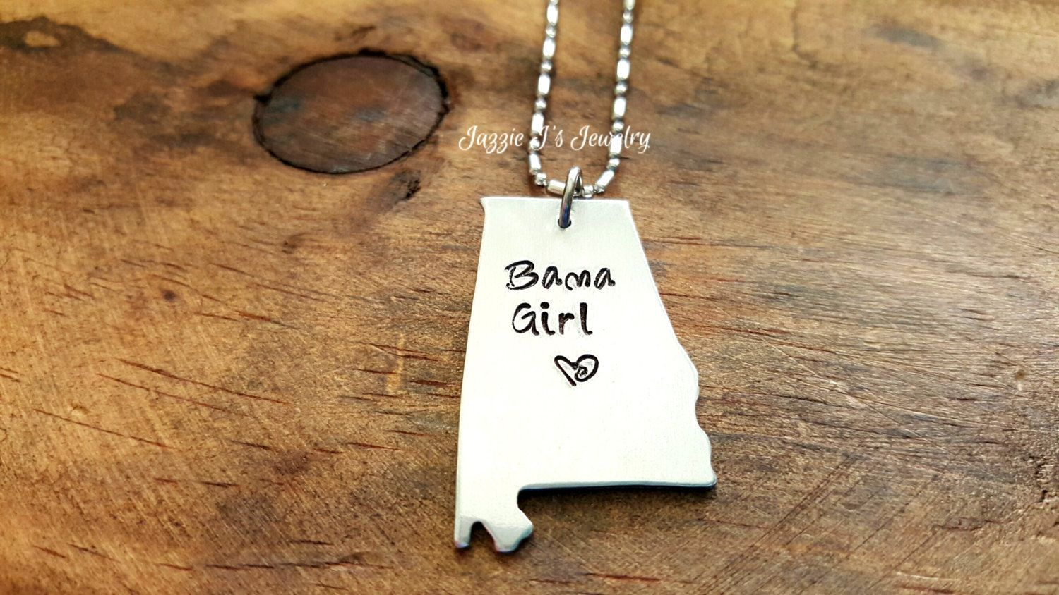 Bama Girl Hand Stamped Necklace, Alabama State Necklace, Alabama Girl Necklace, Southern Jewelry, Alabama, Gift for Her, Sweet Home Alabama by JazzieJsJewelry on Etsy