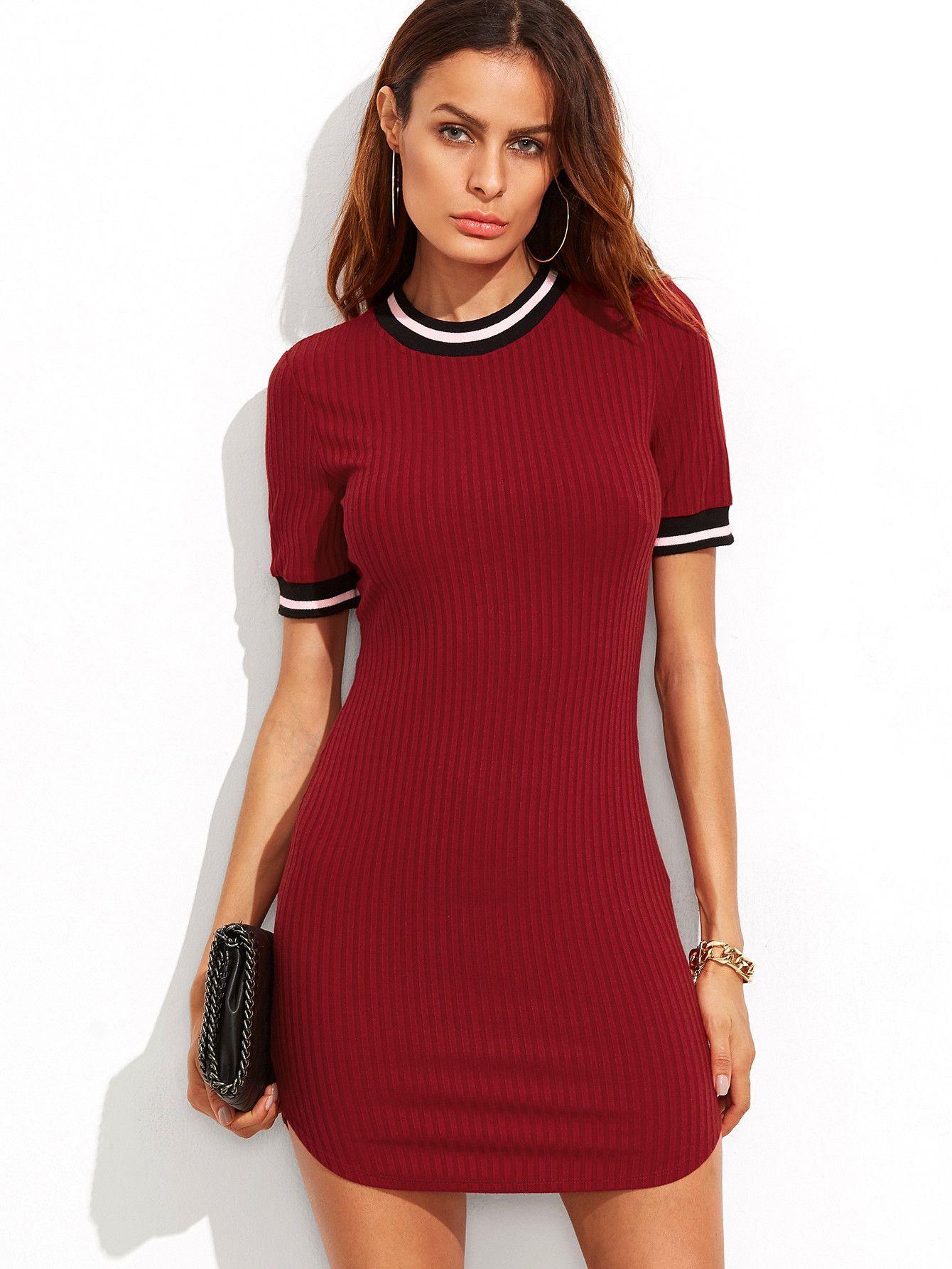 7c462e270649 Burgundy Striped Trim Ribbed Knit Bodycon Dress in 2019