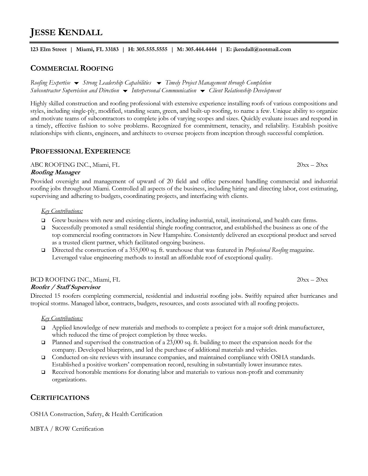 Roofer Resume Sample Sample Resume Resume Examples Resume