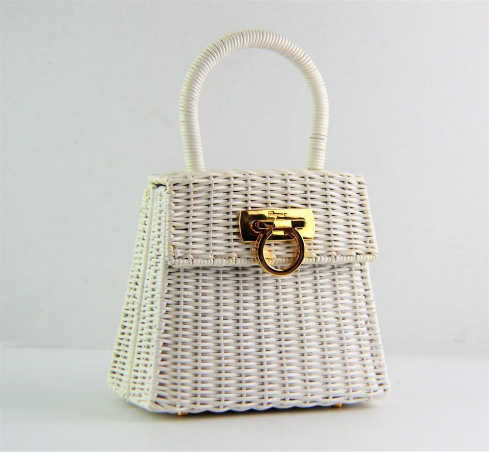 6e85abf1e43de Salvatore Ferragamo Kelly White Ganchini Gancino Wicker Rattan Straw Bamboo  Bag #SalvatoreFerragamo #Satchel