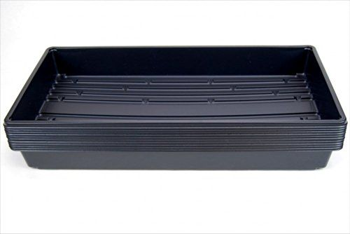 10 Plant Growing Trays (No Drain Holes) – 20″ x 10″ – Perfect Garden Seed Starter Grow Trays: For Seedlings, Indoor Gardening, Growing Microgreens, Wheatgrass & More – Soil or Hydroponic  Black Plastic Gardening Trays with NO drain holes. br> Growing Trays can be reused over and over again. Perfect for growing wheatgrass, starting seedlings, growing microgreens in soil & more. Sturdy black plastic. Precise fit for Sure to Grow pads and Micro-Mats hydroponic pads.    Tray is wider in ..