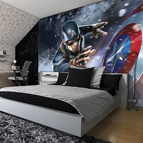 marvel avengers assemble captain america wallpaper mural. Black Bedroom Furniture Sets. Home Design Ideas