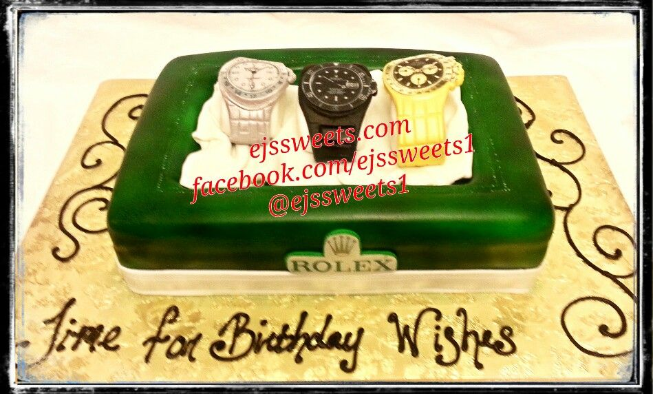 Rolex watch box and watches. #ejssweets #customcakes #rolexcake #watchcake #cakesinmcdonough