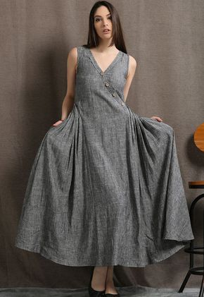Long Maxi Grey Size Linen Sleeveless Fitting Womens Summer Dress Marl Plus Gray Loose H0Xn5q0